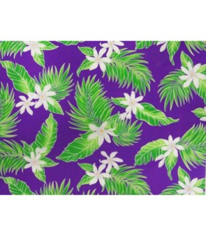 Hawaiian Poly Cotton Fabric LW-17-574 [ Tiare Leaf ] Purple