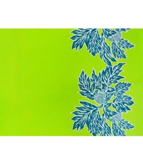 Hawaiian Poly Cotton Fabric LW-17-577 [ Ulu Border ] Apple Green Teal