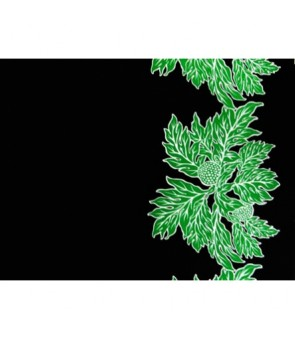 Hawaiian Poly Cotton Fabric LW-17-577 [ Ulu Border ] Black Green