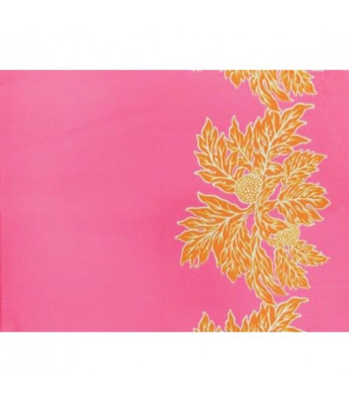 Hawaiian Poly Cotton Fabric LW-17-577 [ Ulu Border ] Cerise Orange