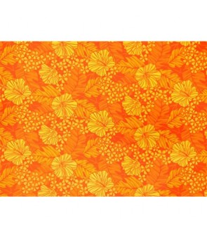Hawaiian Poly Cotton Fabric LW-17-587 [ Hibiscus / Banana Leaf ] Orange