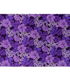 Hawaiian Poly Cotton Fabric LW-17-587 [ Hibiscus / Banana Leaf ] Purple