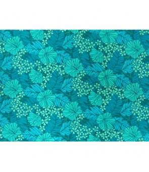 Hawaiian Poly Cotton Fabric LW-17-587 [ Hibiscus / Banana Leaf ] Teal