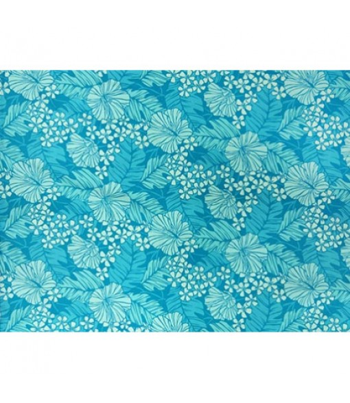 Hawaiian Poly Cotton Fabric LW-17-587 [ Hibiscus / Banana Leaf ] Turquoise