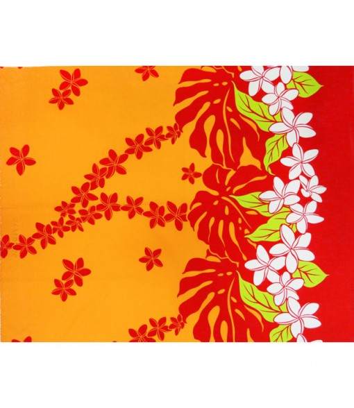 Hawaiian Poly Cotton Fabric LW-17-588 [ Plumeria / Monstera ] Orange Red