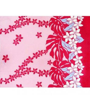 Hawaiian Poly Cotton Fabric LW-17-588 [ Plumeria / Monstera ] Pink