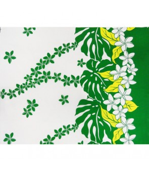 Hawaiian Poly Cotton Fabric LW-17-588 [ Plumeria / Monstera ] White Green