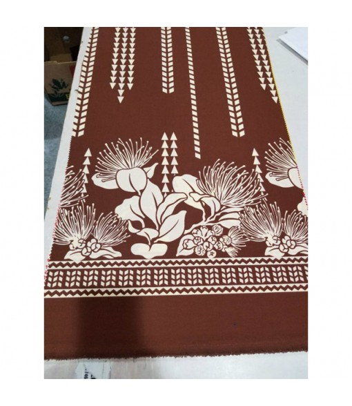 Hawaiian Poly Cotton Fabric LW-17-595 [ Lehua / Tapa ] Brown Cream