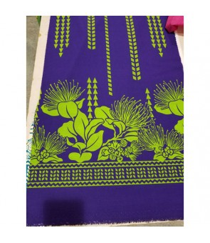 Hawaiian Poly Cotton Fabric LW-17-595 [ Lehua / Tapa ] Purple Green