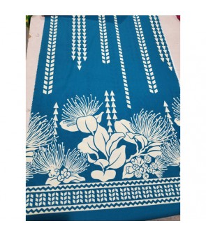 Hawaiian Poly Cotton Fabric LW-17-595 [ Lehua / Tapa ] Teal Cream
