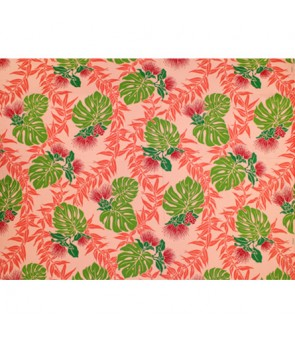 Hawaiian Poly Cotton Fabric LW-18-615 [ Lehua Maile / Monstera ] Coral