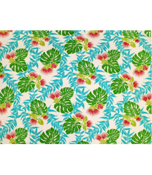 Hawaiian Poly Cotton Fabric LW-18-615 [ Lehua Maile / Monstera ] Natural