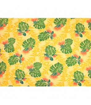 Hawaiian Poly Cotton Fabric LW-18-615 [ Lehua Maile / Monstera ] Yellow