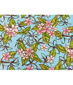 Hawaiian Poly Cotton Fabric LW-18-617 [ Plumeria Garden ] Blue