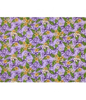 Hawaiian Poly Cotton Fabric LW-18-617 [ Plumeria Garden ] Lavender