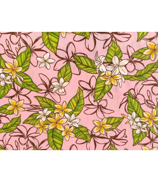 Hawaiian Poly Cotton Fabric LW-18-617 [ Plumeria Garden ] Pink