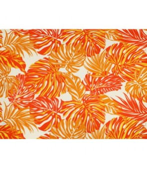 Hawaiian Poly Cotton Fabric LW-18-620 [ Monstera / Tropical Leaf ] Orange Natural