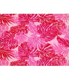 Hawaiian Poly Cotton Fabric LW-18-620 [ Monstera / Tropical Leaf ] Pink