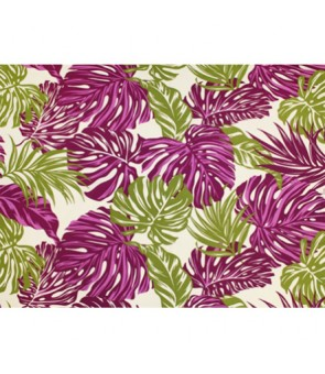 Hawaiian Poly Cotton Fabric LW-18-620 [ Monstera / Tropical Leaf ] Plum Natural