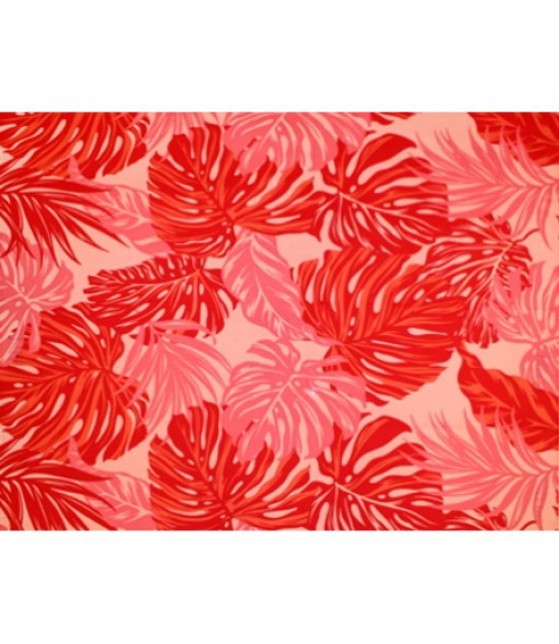 Hawaiian Poly Cotton Fabric LW-18-620 [ Monstera / Tropical Leaf ] Red