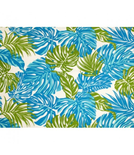 Hawaiian Poly Cotton Fabric LW-18-620 [ Monstera / Tropical Leaf ] Turquoise Natural