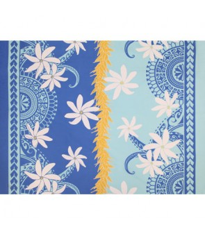 Hawaiian Poly Cotton Fabric LW-18-626 [ Hinano Tiare Lei ] Blue