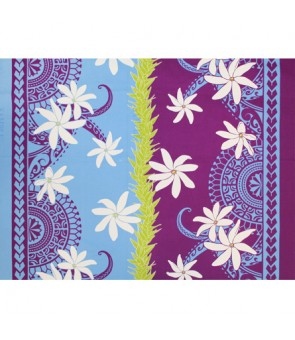 Hawaiian Poly Cotton Fabric LW-18-626 [ Hinano Tiare Lei ] Plum Periwinkle