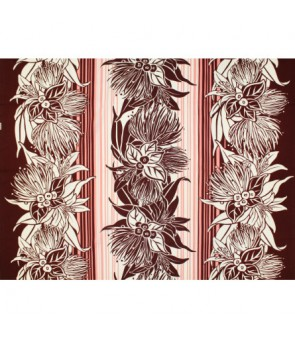 Hawaiian Poly Cotton Fabric LW-18-629 [ Lehua & Lily Flower Panel ] Brown & Coral