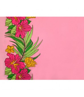 Hawaiian Poly Cotton Fabric LW-18-643 [ Hibiscus Palm Leaf Border ] Pink