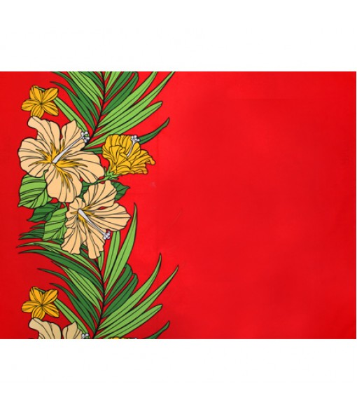 Hawaiian Poly Cotton Fabric LW-18-643 [ Hibiscus Palm Leaf Border ] Red