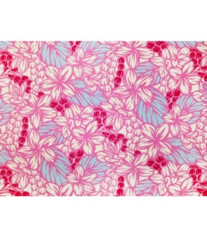 Hawaiian Poly Cotton Fabric LW-18-654 [ Plumeria Pikake ] Pink Cream