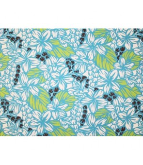 Hawaiian Poly Cotton Fabric LW-18-654 [ Plumeria Pikake ] Turquoise Brown