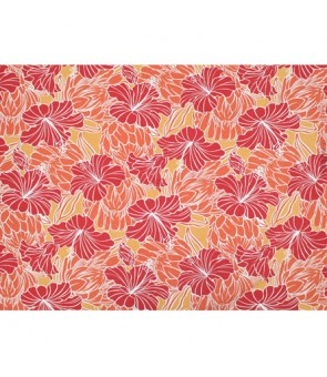 Hawaiian Poly Cotton Fabric LW-18-679 [ Hibiscus & Protea ] Orange Red