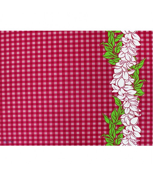 Hawaiian Poly Cotton Fabric LW-18-681 [ Palaka & Plumeria ] Fuchsia