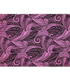 Hawaiian Poly Cotton Fabric LW-19-686 [ Tapa Wave ] Black Pink