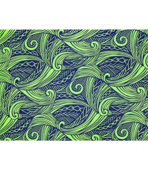 Hawaiian Poly Cotton Fabric LW-19-686 [ Tapa Wave ] Navy Green