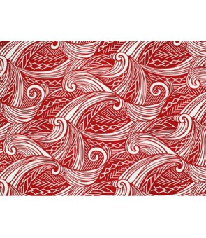 Hawaiian Poly Cotton Fabric LW-19-686 [ Tapa Wave ] Red Natural