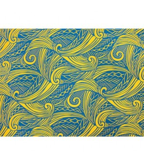 Hawaiian Poly Cotton Fabric LW-19-686 [ Tapa Wave ] Teal Mustard