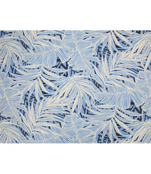 Hawaiian Poly Cotton Fabric LW-19-693 [ Palm Banana Leaf ] Blue Grey