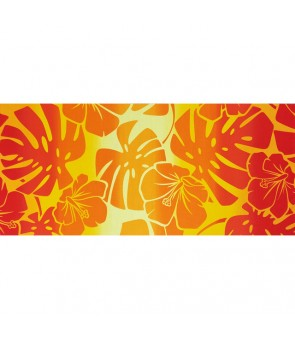 Hawaiian Poly Cotton Fabric LW-19-710 [ Hibiscus Monstera Gradation ] Red Yellow