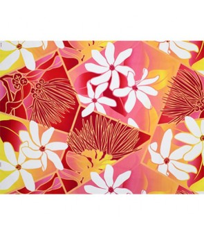Hawaiian Poly Cotton Fabric LW-19-711 [ Future Lehua / Tiare ] Pink Yellow