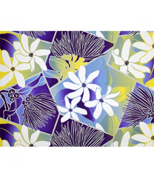 Hawaiian Poly Cotton Fabric LW-19-711 [ Future Lehua / Tiare ] Purple