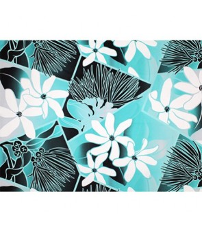 Hawaiian Poly Cotton Fabric LW-19-711 [ Future Lehua / Tiare ] Teal