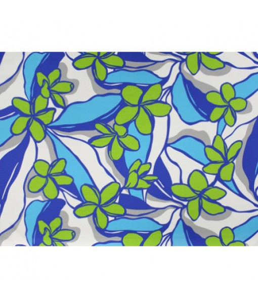 Hawaiian Poly Cotton Fabric LW-19-718 [ All Over Plumeria ] Blue Natural