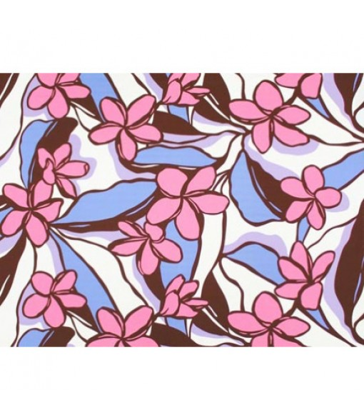 Hawaiian Poly Cotton Fabric LW-19-718 [ All Over Plumeria ] Brown Periwinkle