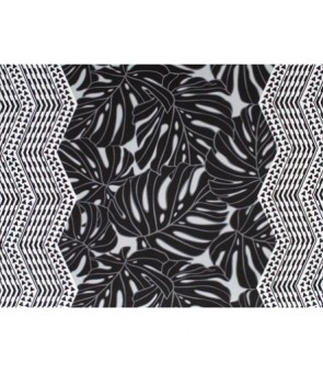 Hawaiian Poly Cotton Fabric LW-19-721 [ Monstera Double Tapa Border ] Black