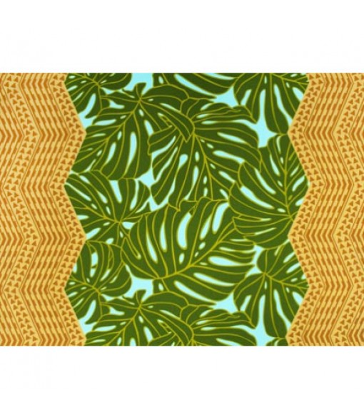 Hawaiian Poly Cotton Fabric LW-19-721 [ Monstera Double Tapa Border ] Brown Green