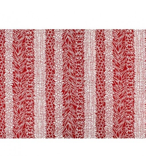 Hawaiian Poly Cotton Fabric LW-19-723 [ Lei Panel ] Red Natural