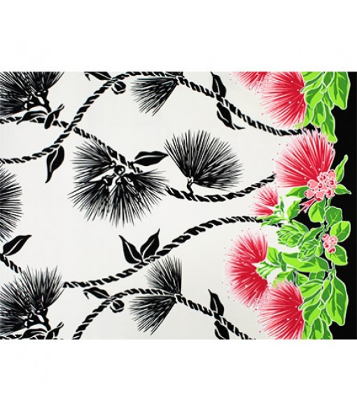Hawaiian Poly Cotton Fabric LW-19-727 [ Lehua Lei Border ] Natural Black