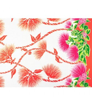 Hawaiian Poly Cotton Fabric LW-19-727 [ Lehua Lei Border ] Natural Orange